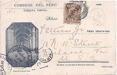 Peru 1899 3c picture stationery card Interior de la Catedral uprated used