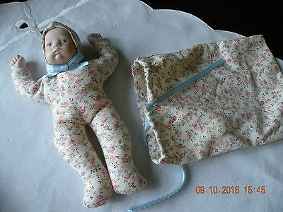 Mid Century Porcelain and Cloth Infant Doll