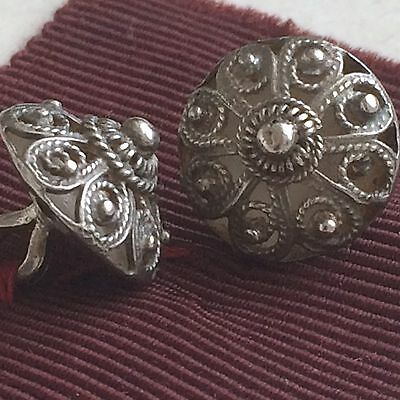 Unusual Pair of Small Continental Vintage Handmade Solid Silver buttons Maker OT
