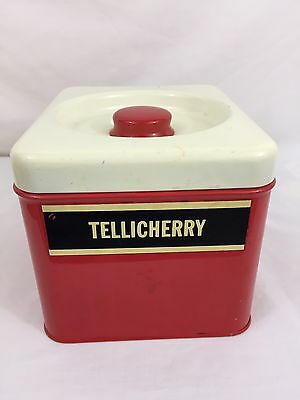 """Vintage Beauty Ware Red Metal Kitchen Canister 5"""" Wide X 4.5"""" High X 6"""" Deep"""