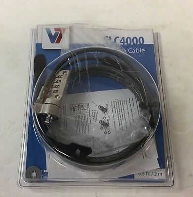 V7 Anti-Theft Security Combo Lock 6.5 Ft Galvanized Cable SLC4000-13NB