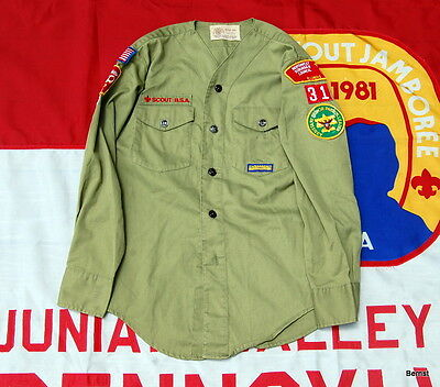 LONG SLEEVE - NO COLLAR - BOY SCOUT UNIFORM  SHIRT WITH INSIGNIA - c.1960's