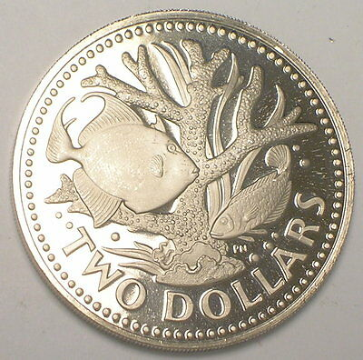 1973 Barbados Two 2 Dollars Staghorn Coral Fish Coin Proof