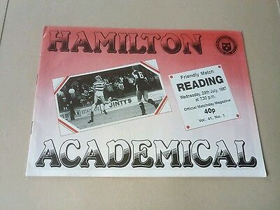Hamilton Academical v Reading Pre Season Friendly Football Programme 29/7/87 VGC