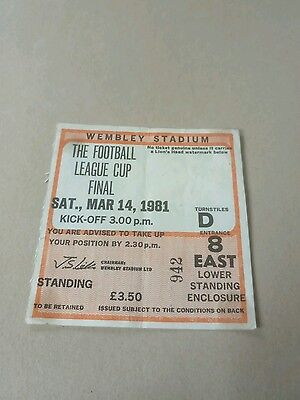 Liverpool v West Ham United League Cup Final 1981 Football ticket 14/3/81