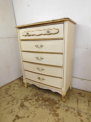 Vintage Dixie Style French Decorated Bedroom Tall High Dresser Chest