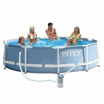 "Intex 12ft by 30"" Round Metal Frame Swimming Pool with Filter Pump #28712"