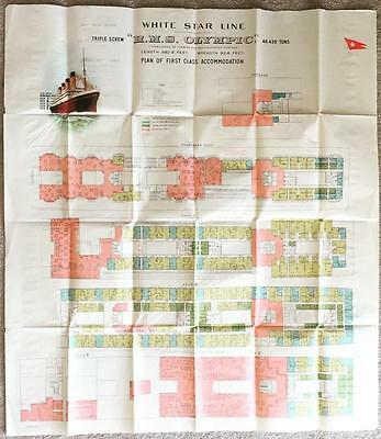 White Star Line Rms Olympic Original Foldout First Class Colour Coded Deck Plan