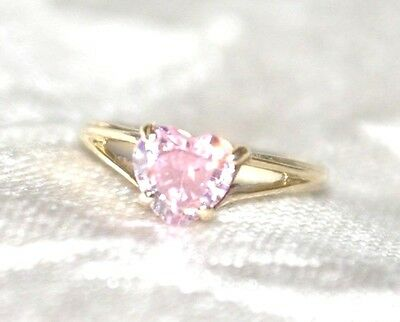 VINTAGE 10k Yellow Gold Pink Heart Solitaire Sweetheart Ring - SIZE 2.5 - Nice!