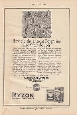 1920 Ryzon Perfect Baking Powder Ad: How Did Ancient Egyptians Raise Their Dough