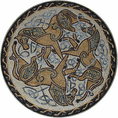 "Round Medallion 39"" Celtic Horse Theme Decorative Marble Mosaic AN1840"