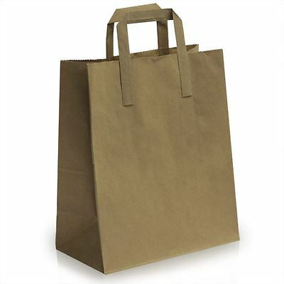 10 Medium SOS Brown Kraft Paper Carrier Bags with Flat Handles 21x25+11cm