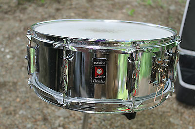"""Vintage early 1970's Premier Olympic 5"""" x14"""" snare drum. w/free original case"""