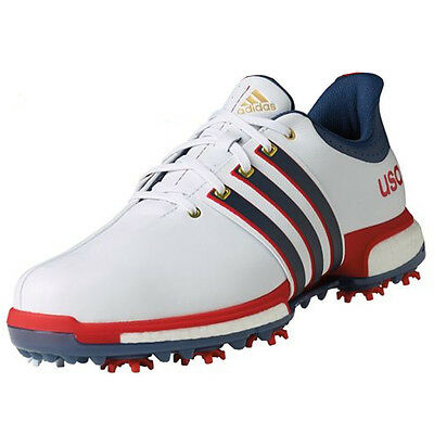 New Adidas Mens Tour 360 Boost USA! Golf Shoes Red/White/Blue Size 9 M