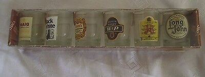 Rare Vintage VMC Whisky Brands  - 6 glass tumblers In Unopened Box