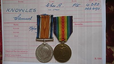 Ww1 British War Medal & Victory Medal/badges 13Th Cheshire Regiment Knowles