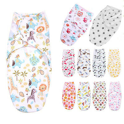 Baby Newborn Infant Swaddle Wrap Blanket Soft Sleeping Bag For 0-3 Months 2 Size