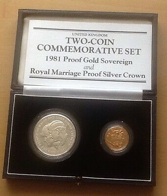1981 Full Proof sovereign & Silver Proof Coin Commemorative Set Royal Marriage