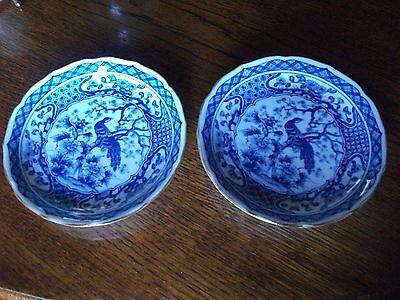 PAIR Antique Japanese Arita Blue White Saucer Dish EXOTIC BIRDS CHARACTER MARKS