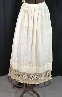 apron long half white cotton Civil War Era fancy rough reenactment antique