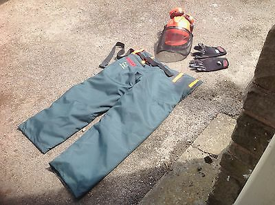 Oregon Chainsaw safety trousers, helmet and gloves