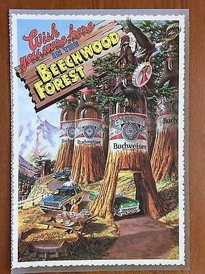 Budweiser 1985 Mag Ad Postcard Style Wish You Were Here In The Beechwood Forest