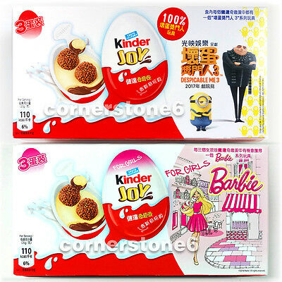 ~ 6 x KINDER Joy chocolate - DESPICABLE ME 3 + BARBIE - Surprise Toys * for GIRL