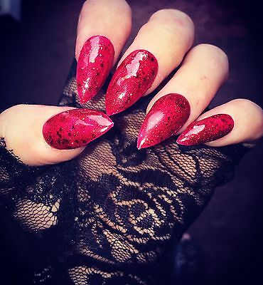 Hand Painted False Nails Red Glitter Stiletto Full Cover Tips