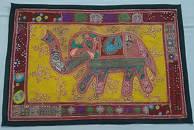 Handmade-Elephant-Bohemian-Patchwork-Wall-Hanging- Embroidered Vintage Tapestry