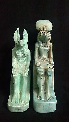 2 Ancient Egyptian statue of god anubis and Horus (1390-1352 B.C)-(300 - 250 BC)