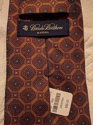 NWT New Mens Brooks Brothers Makers 100% silk tie Made in USA $95!