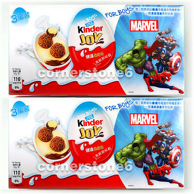 ~ 6 x KINDER Joy chocolate - MARVEL - Surprise Toys * for BOYs