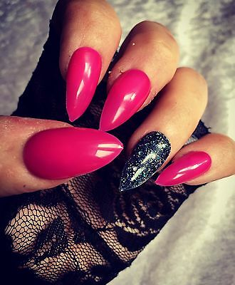 Hand Painted False Nails Pink & Black Stiletto Full Cover Tips