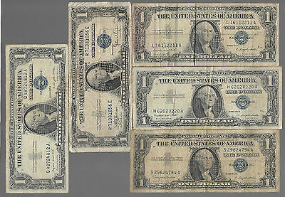 Rare Old Antique US Silver Certificate BLUE SEAL Dollar Bill USA Collection Lot