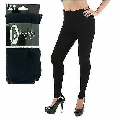 Nicole Miller New York Seamless Fleece Lined Leggings Seamless Black 3 Sizes