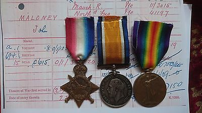 Ww1 1914/15 Star;british War Medal & Victory Medal/badges Manchester R Gallipoli