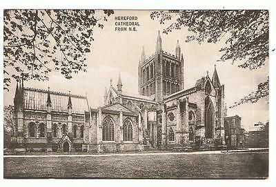 Used 1914 Sepia Valentines P/C Hereford Cathedral, from N.E.
