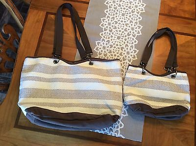 Thirty One Brown Stripped Tote Lot Of 2 Matching Thrifty One Totes