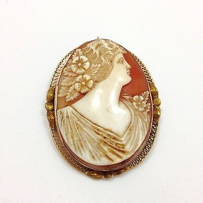 Large Carnelian Cameo Pin Brooch 14k Yellow Gold Pendant Necklace 585 FMGE