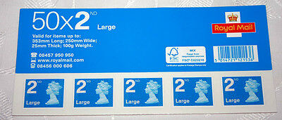 New 50 X Royal Mail 2nd Second Class Large Letter self adhesive postage stamps.