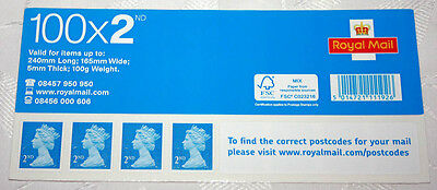 New 100 X Royal Mail 2nd Second Class Letter self adhesive postage stamps.
