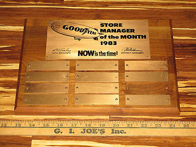 1983 Goodyear Blimp Tire Sign Store Manager Plaque Old Wood Metal Sign VINTAGE