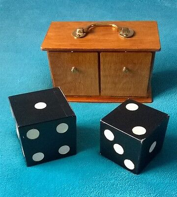 Davenports Professional Magicians Wooden Double Die Box Magic Dice Trick