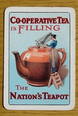 Old wide Co-Op Tea. Single advertising playing card.