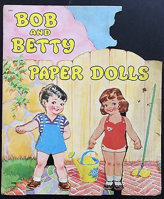 Original Betty & Bob and Big Sister Babs Paper Dolls, 1945, Cut Vintage Set