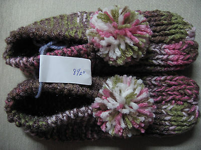 New Handmade Knit Slippers Pink Brown Camo Dazzle Womans Sm/Med Mans X Sm 8 1/2""