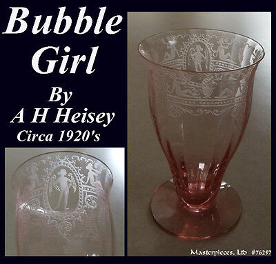 Heisey Bubble Girl Pink Etched Depression Footed Water Glass