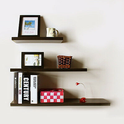 Set of 3 High Gloss Floating Wall Mounted Display Shelf Bookshelf Storage