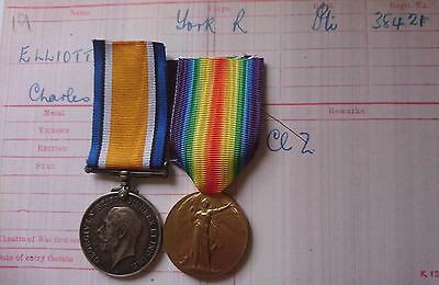 Ww1 British War Medal & Victory Medal/badges 13Th Yorkshire Bantams Elliott