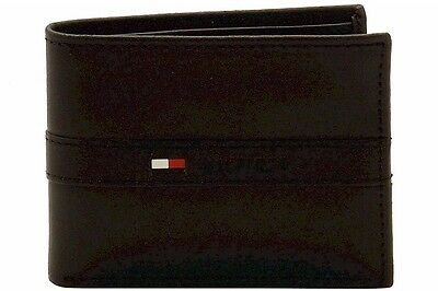 Tommy Hilfiger Men's Passcase Billfold Genuine Black Leather Bi-Fold Wallet